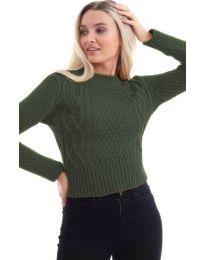 Дамска блуза в маслено зелено - код 145