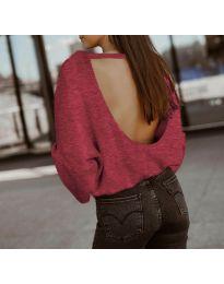 Дамска блуза с ефектен гръб в бордо - код 2666