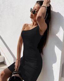 Вталена рокля в черно с едно рамо - код 6412