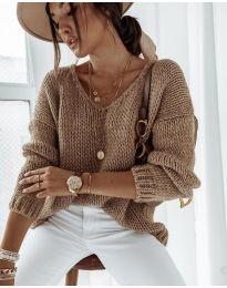 Плетена дамска блуза в кафяво - код 112