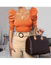 Дамска блуза с бухнали ръкави в оранжево - код 9867