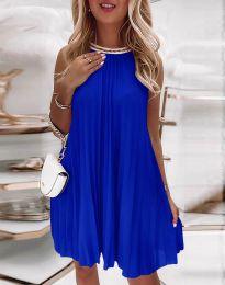 Дамска плисирана рокля в синьо - код 0889