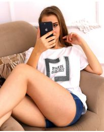 Тениска в бял цвят с ефектен принт - код 3513