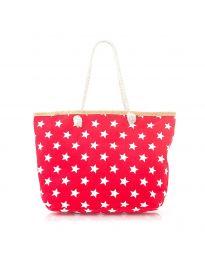 Плажна чанта в червено на бели звездички - код H-9025