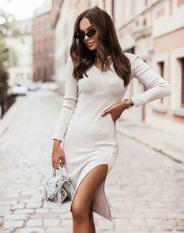 Изчистена дамска рокля в бяло - код 6593