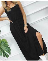 Дълга дамска рокля в черно - код 7466