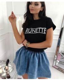 Черна дамска тениска с надпис - код 3591
