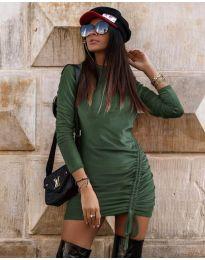 Дамска рокля в маслено зелено - код 9545
