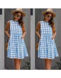 Свободна рокля на синьо каре - код 2123