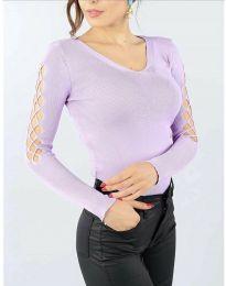 Блуза с ефектни ръкави в светлолилаво - код 6776