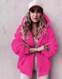 Пухкаво дамско палто в цвят циклама - код 5489