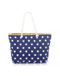 Плажна чанта в синьо на бели звездички - код H-9025