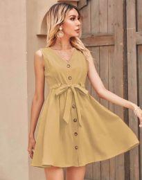 Дамска рокля в бежово - код 8188