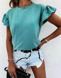 Дамска тениска с ефектни ръкави в цвят тюркоаз - код 4352