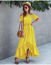 Свободна дълга рокля в жълто - код 564