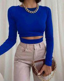 Къса дамска блуза в синьо - код 1833