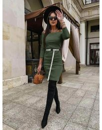 Дамска рокля в  маслено зелено - код 5190
