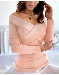 Екстравагантна дамска блуза в цвят праскова - код 0308