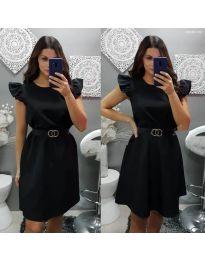 Елегантна рокля с къс ръкав в черно - код 703
