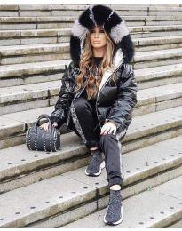 Зимно яке с качулка с косъм в черно - код 843