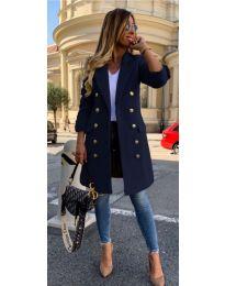 Дамско палто с копчета в тъмно синьо - код 793