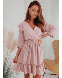 Свободна дамска рокля в цвят пудра - код 8554