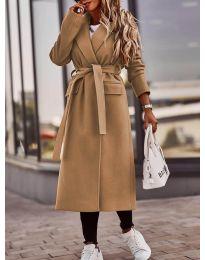 Дамско палто с колан в кафяво - код 7989