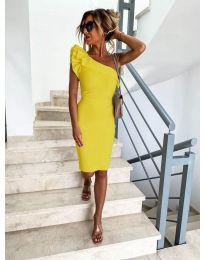 Елегантна рокля в жълто с голо рамо - код 710