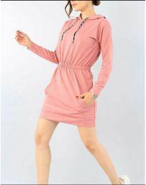 Спортна рокля в цвят пудра - код 7315