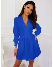 Кокетна рокля в син цвят - код 089