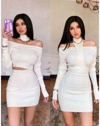 Екстравагантна рокля в бяло - код 3982