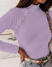 Дамска блуза с поло яка в светлолилаво - код 5690