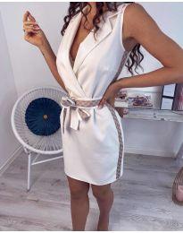 Стилна рокля в бяло с интересен колан - код 123