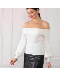 Дамска блуза с лодка деколте в бяло - код 0247