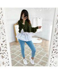 Блуза с имитация на риза в зелено - код 561