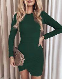 Стилна дамска рокля в зелено - код 2835
