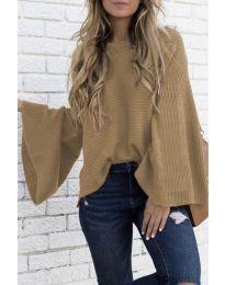 Дамски пуловер в цвят капучино - код 0202