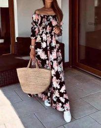 Дълга дамска рокля с атрактивен десен - код 6319 - 2