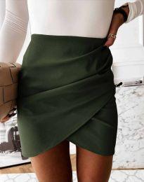 Дамска къса пола с висока талия в масленозелено - код 4906