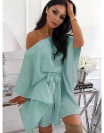 Свободна рокля с колан в цвят мента - код 638