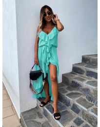 Елегантна рокля в цвят тюркоаз - код 0081