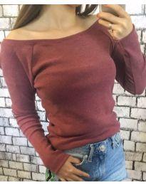 Изчистена дамска блуза в бордо - код 454