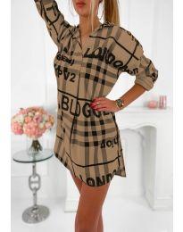 Дамска рокля с ефектен десен в кафяво - код 5456