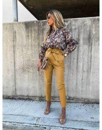 Елегантен панталон в цвят горчица - код 788