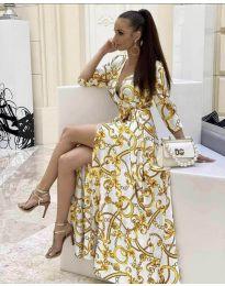 Дълга рокля с цепка в бяло - код 4489 - 2