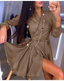 Елегантна рокля в кафяво - код 2428