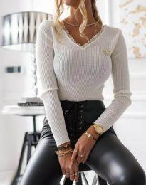 Стилна дамска блуза в бяло - код 5946