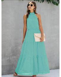 Свободна дълга рокля в цвят мента- код 8855