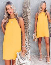 Свободна дамска рокля в жълто - код 2169
