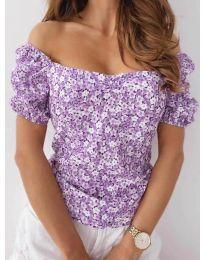 Блуза с флорален десен в лилаво - код 9897